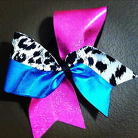 """Turquoise, Hot Pink Mystique and Cheetah on 3"""" Black Grosgrain - Cheer Bow"""