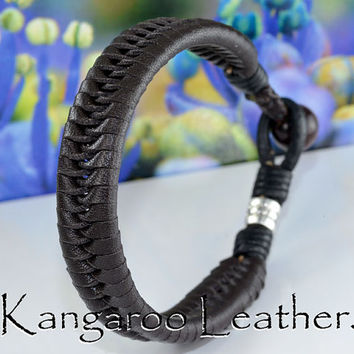 B-922 Finely Made Kangaroo Leather Red Tigers Eye Surf Wristband Men Bracelet.