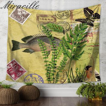 Miracille Tapestry Marine Style Retro Fish Hippie Wall Hanging Tapestries Beach Throw Towel Gypsy Bed Sheet Home Decor