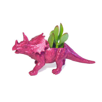 Up-cycled Glittery Pink Triceratops Dinosaur Planter