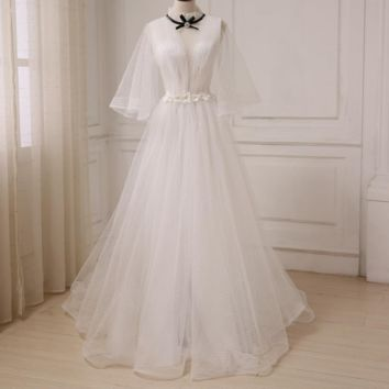 Romantic Court Evening Dresses Sexy High Neck See Through Flory Prom Party Gowns with Flower Sashes Sweep Train