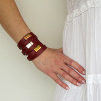 NEW Set of 3 leather wrap bracelets in burgundy red with silver and gold plated closures SOT04