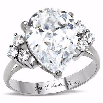 A Perfect 5CT Pear Cut Russian Lab Diamond Ring with Accents