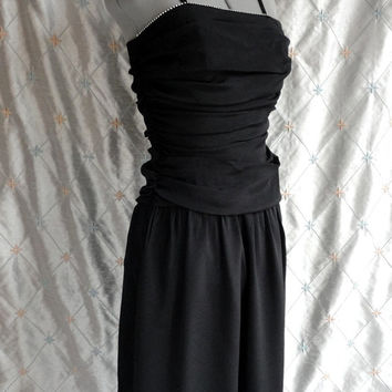 ON SALE 80s Dress // Vintage 1980s Black Party Prom Dress with Rhinestone Trim and Spaghetti Straps Size XS