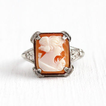 Vintage Cameo Ring - Art Deco Sterling Silver Classic Sillhoute - 1930s Size 6 1/2 Genuine Carved Shell Flower Setting Statement Jewelry