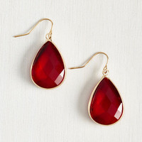 Receiving Drop Honors Earrings in Red by ModCloth