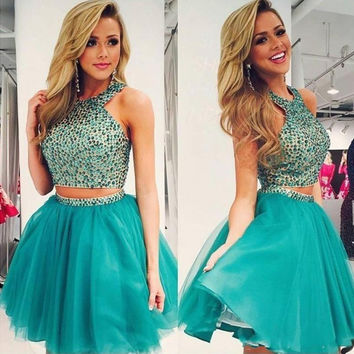 Gorgeous Two PieceS Green homecoming dress, Tulle Green homecoming dress