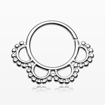 Blossom Petal Septum Twist Loop Ring