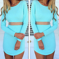 Long Sleeve Bodycon Mesh Cutout Dress
