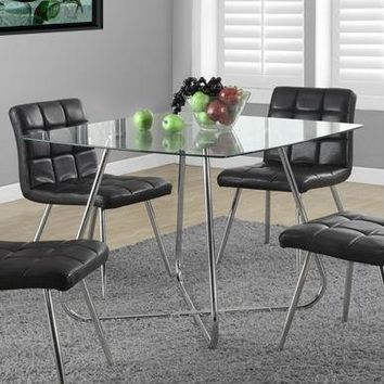 Modern Square Dining Table 40 x 40-inch with Tempered Glass Top