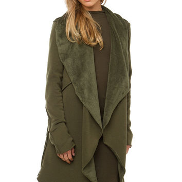 Open Flap Jersey Cardigan - Olive
