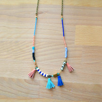 Long Gemstone Bead and Leather Tassel Necklace with Geometric Brass | Boo and Boo Factory - Handmade Leather Jewelry