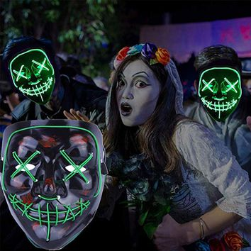 Halloween Masks EL Wire Light Up Flash Party Mask The Purge Election Year Great Funny Masks Festival Cosplay Costume Supplies