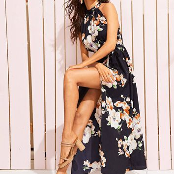 Floral Print Wrap Split Front Halter Dress