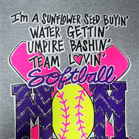 Southern Chics Funny Softball Mom 4 Sunflower Neon Green Sweet Girlie Bright T Shirt