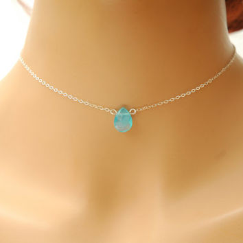 Aquamarine Teardrop Crystal Necklace, Briolette Dainty Silver Choker Necklace, March Birthstone Necklace, Birthstone Jewelry
