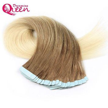 CREY78W #8/613 Color Tape In Human Hair Extensions 100% Remy Hair Brazilian Straight Hair 50g 20pcs/Set Skin Weft  Dreaming Queen Hair