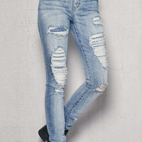 PacSun Tornado Patch Ripped Low Rise Skinny Jeans at PacSun.com