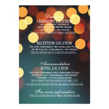 Teal Gold Bokeh Lights Wedding Details Information Card