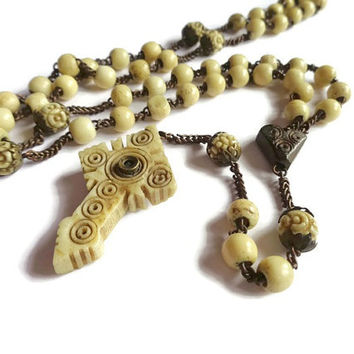 French Antique Stanhope Rosary Lourdes. Carved Bone Cross Crucifix Rosary. Rosary with Stanhope Viewer. Peephole Pendant Rosary.
