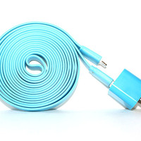 Blue iPhone 5/5s/5c Charger - 3m/10ft iPhone 5/5s/5c Cable and Plug