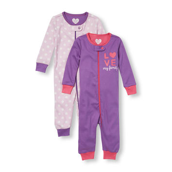 Baby And Toddler Girls Long Sleeve 'Love My Family' And Polka Dot Print Stretchie 2-Pack | The Children's Place