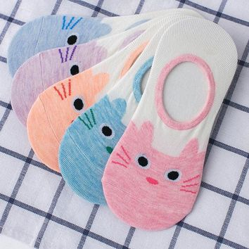 Small Animal Cat Cartoon Slippers Socks Funny Crazy Cool Novelty Cute Fun Funky Colorful
