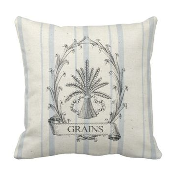 French Grain Sack 2 Throw Pillow