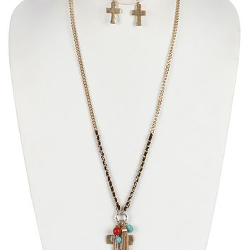 Matte Finish  Cross Charm Chain Tassel Natural Stone Bead Two Tone Necklace Earring Set