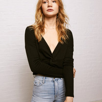Don't Ask Why Knot Front Top, Black