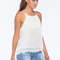 Blu Pepper Lace Trim Womens Tank White  In Sizes