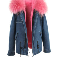 Denim Parka Jacket Light Pink Fur