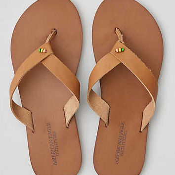 AEO Folded Strap Leather Flip Flop , Natural
