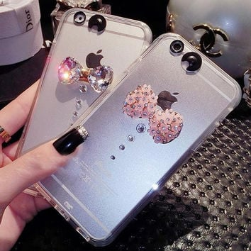 Handmade Light Up Diamond Bow iPhone 6 6s Plus Case