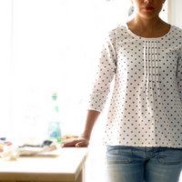 """White and light tan beige """"ficelle"""" polka dots pleated blouse, japanese style top, cotton pleated shirt. Sizes US 2, 4, 6, 8. Made to order."""