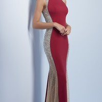 Long Prom Dress with Sheer Beaded Side Panel