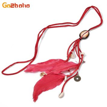 New Lucky Coin Seashell long feathers velvet rope chain necklaces