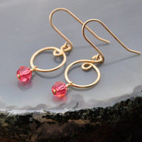 Pink Crystal Earrings, Gold Fill Wire Jewelry, Dangle Infinity Spiral