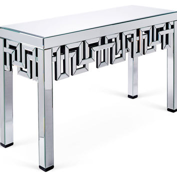 Mirrored Meander Console, Silver, Console Table