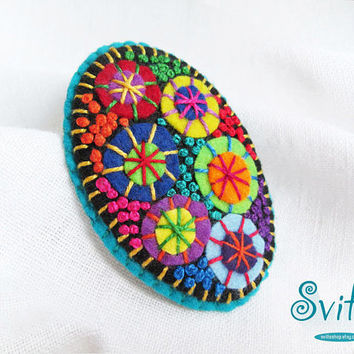 Brooch Textile Firework | Felt Brooch | Textile Art Jewelry | Idea for Gift | Creative Original Unusual Pin | Light Blue Color Base