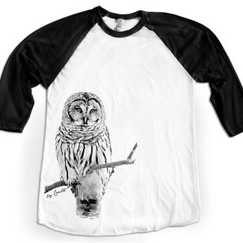 Baseball OWL Shirt Unisex Raglan Tshirt Hand Screen Print American Apparel 3/4 Sleeve XS, S, M, L, XL 4 Color Available