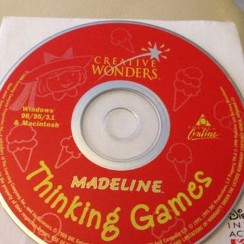 Madeline Thinking Games PC 1996 CD kids learn spelling music drawing art