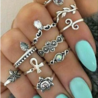 10 Pcs Bohemian Summer Beach Ring Set