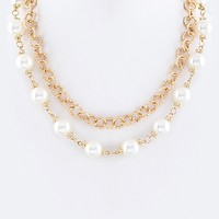LAYERED PEARL STATION NECKLACE