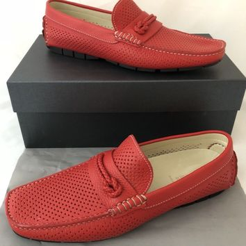 NIB $339 Baldinini Men's Leather Red Driver Moccasins Shoes 10 US (43 Eu) Italy