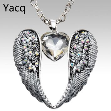 YACQ Wings Heart Necklace Pendant W Chain Antique Silver Color W Crystal Women Girls Biker Bling Jewelry Gifts Dropshipping NC06