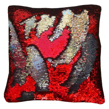 "16""x16"" with INSERT Mermaid Sequin Pillow Color Changing Pillow Anti Stress Reversible Flip Sequins Perfect Therapeutic Throw Pillow for Stress Relief Great Gift for all Red Silver Color"
