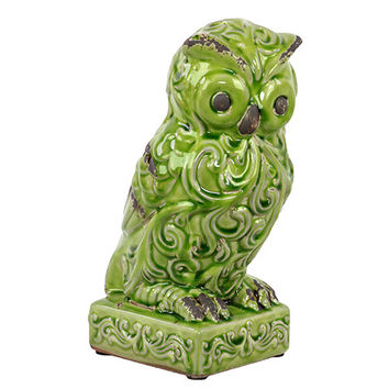 Benzara Attentive Ceramic Owl Figurine Wide Open Eyes