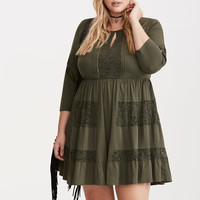 Lace Inset Challis Dress
