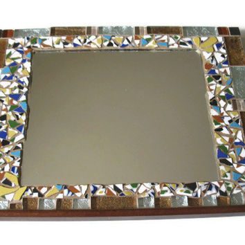 Mirror Brown Silver Glass Ceramic Tiles Mosaic Home Decoration Wall Art Hanging Mother's Day